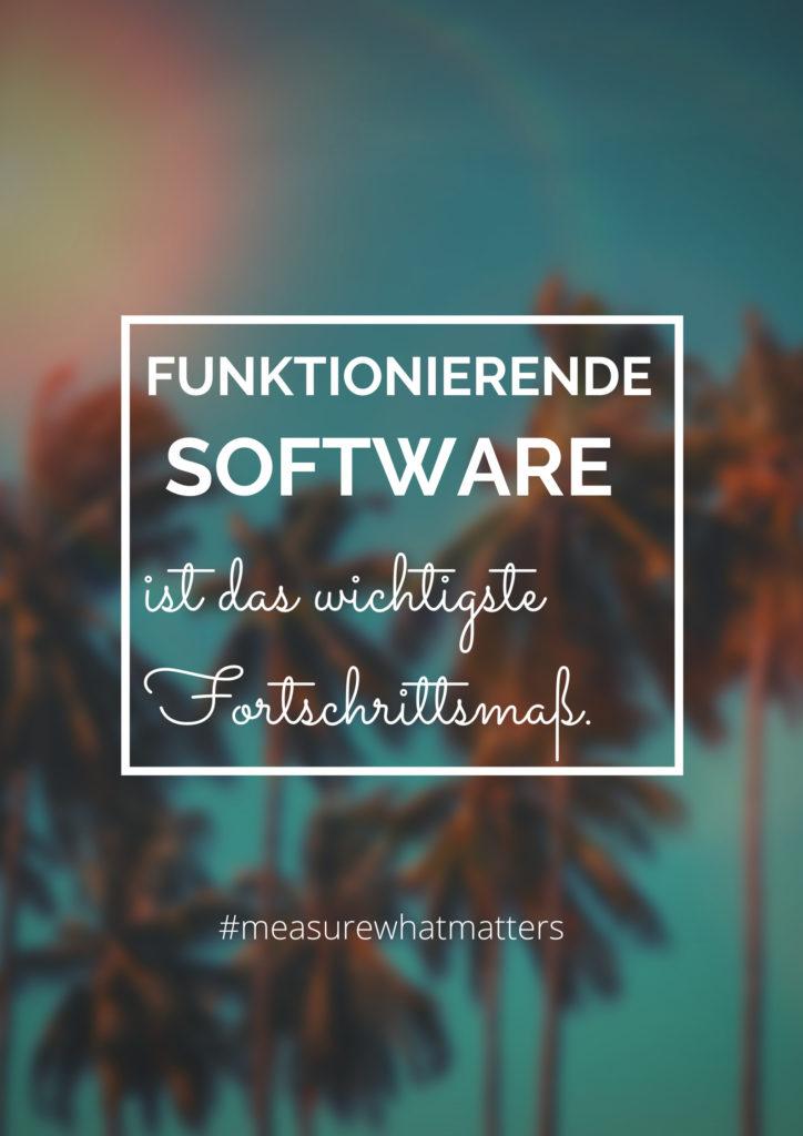 Funktionierende Software ist das wichtigste Fortschrittsmaß.